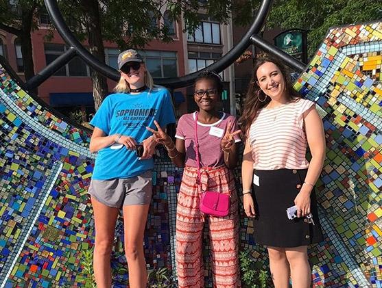 Three people in downtown Binghamton
