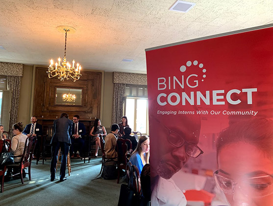 Group of people inside at a BING Connect event